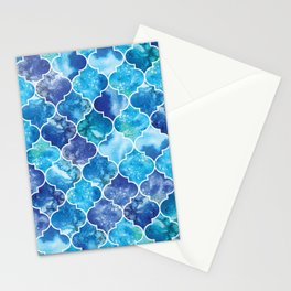 Moroccan Tile Pattern in Blue Watercolor Stationery Cards