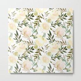 Modern blush yellow pink green watercolor botanical pattern Metal Print