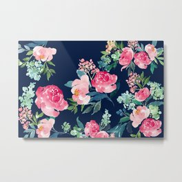 Navy and Pink Watercolor Peony Metal Print