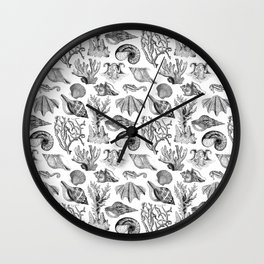 Vintage Nautical Illustrations in Black Ink Wall Clock