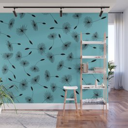 Small Dandelions Blossoms Turquoise Wall Mural