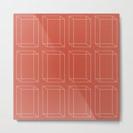 3D Geometric Minimalist Pattern - Red Metal Print