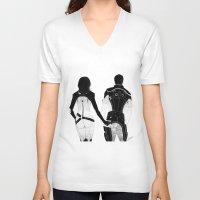 nan lawson V-neck T-shirts featuring MASS EFFECT: MIRANDA LAWSON KAIDAN ALENKO BOOTEHS by GeorgiaLe-Flay