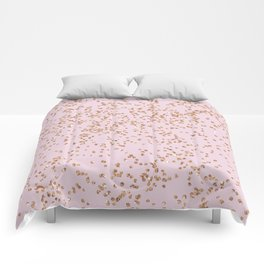 Rose gold diamond confetti Comforters