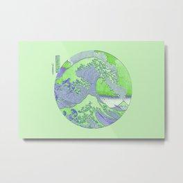 Great Wave Off Kanagawa Mount Fuji Eruption Minimalist-Seafoam Green Metal Print