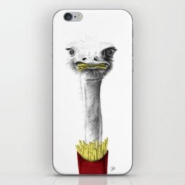 Ostrich With French Fries iPhone Skin