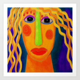 Blonde Abstract Digital Portrait of a Woman Art Print