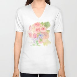 Garden Bouquet Watercolor Wedding Pink Roses Unisex V-Neck