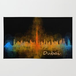 Dubai, emirates, City Cityscape Skyline watercolor art v4 Rug