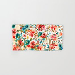 Red Turquoise Teal Floral Watercolor Hand & Bath Towel
