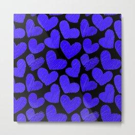 Sketchy hearts in dark blue and black Metal Print