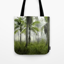 Foggy Palm Forest Tote Bag
