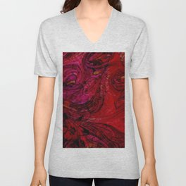 Contemporary Scarlet Bloom Swirl Unisex V-Neck