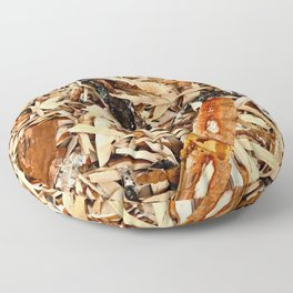 Abstract Texture Of Wooden Chips And Shavings Floor Pillow