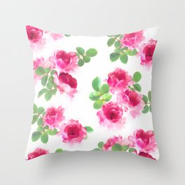 Raspberry Pink Painted Roses on White Throw Pillow