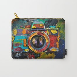 Painted old film camera on art background of palette covered with paint strokes. Carry-All Pouch
