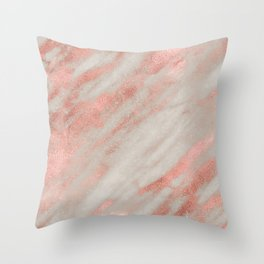 Smooth rose gold on gray marble Throw Pillow