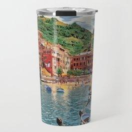 Vernazza on Italian Riviera, sea boats coastal houses, Italy marine nature travel art poster Travel Mug