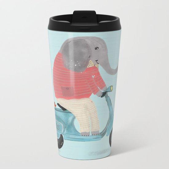 elephant scooter Metal Travel Mug