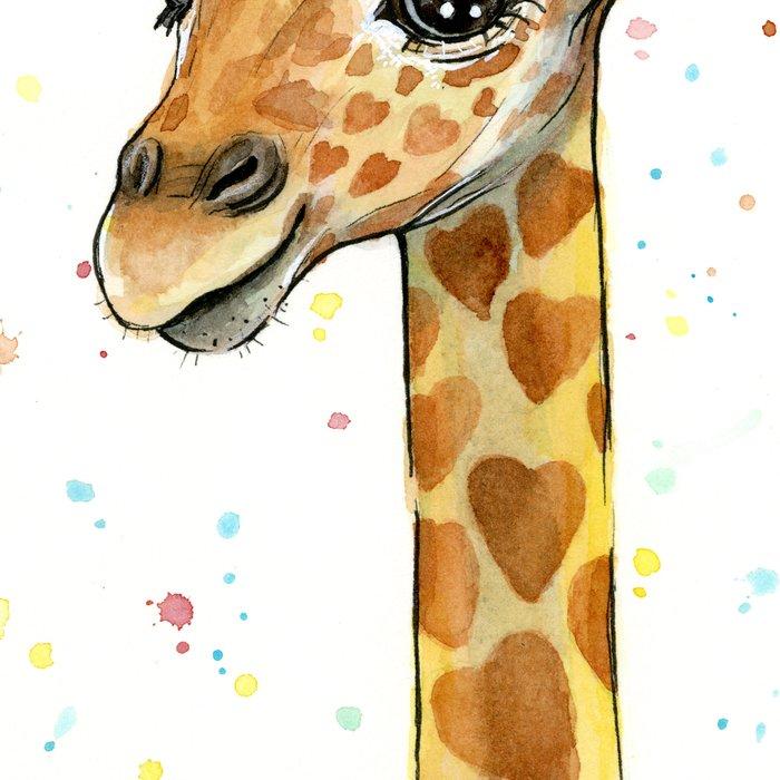 Giraffe Baby Animal with Hearts Watercolor Cute Whimsical Animals Nursery Leggings