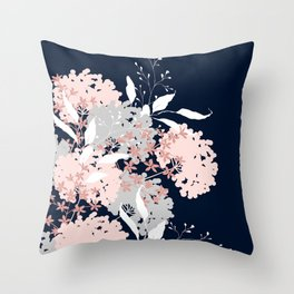 Festive, Wildflowers, Floral Print, Navy Blue and Pink Throw Pillow