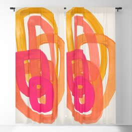 Funky Retro 70' Style Pattern Orange Pink Greindent Striped Circles Mid Century Colorful Pop Art Blackout Curtain