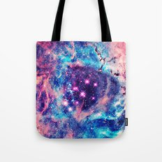 Trendy Pastel Pink Blue Nebula Girly Stars Galaxy Tote Bag