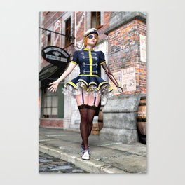 Steampunk Babe with Mechanical Arm Canvas Print