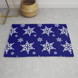 Christmas wallpaper design with white snowflakes and deep navy blue background Rug