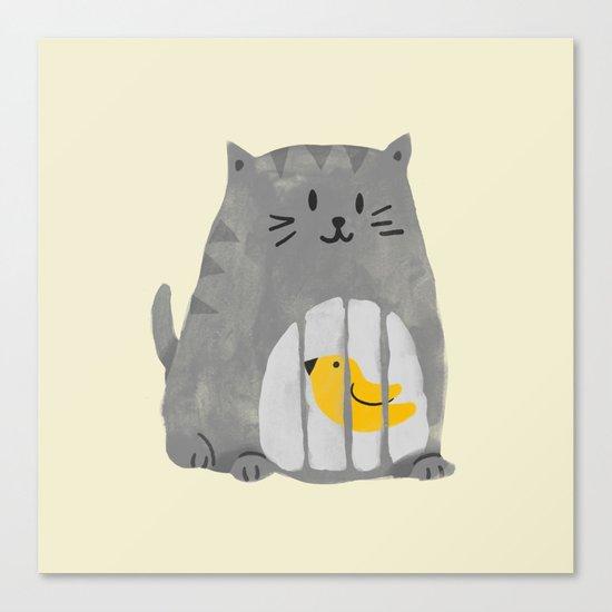 A cat that swallows a bird Canvas Print