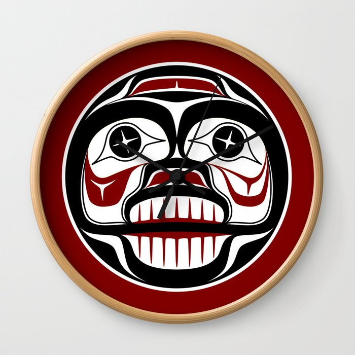 Northwest Pacific coast Haida Weeping skull Wall Clock