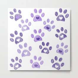 Ultraviolet paw print with hearts vector background Metal Print
