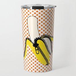 Pop Art Yellow Banana Zipped Travel Mug