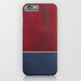 Deep Blue, Red And Gold Abstract Painting iPhone Case