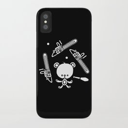 Cute Teddy Juggling 2 Balls, 3 Chainsaws and Club iPhone Case