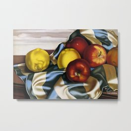 Still Life with Apples and Lemons and Blue Gingham by Tamara de Lempicka Metal Print