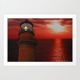 Aquinnah Sunset lighthouse Art Print