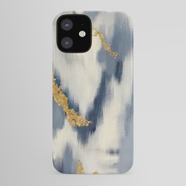 Blue and Gold Ikat Pattern Abstract iPhone Case