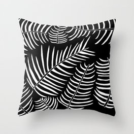 B&W Inverted Leaves Throw Pillow