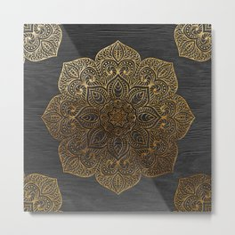 Wood Mandala - Gold Metal Print