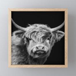 Highland Cow Black And White Framed Mini Art Print