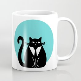 """Cat with a tie"" by Qora & Shaï Coffee Mug"