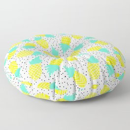 Modern tropical mint yellow pineapples black polka dots pattern illustration Floor Pillow