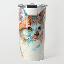 Bicolor cat portrait Travel Mug