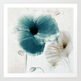 Teal Poppies Art Print
