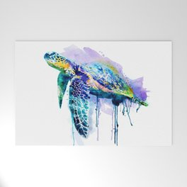 Watercolor Sea Turtle Welcome Mat