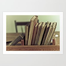 Retro Books Art Print