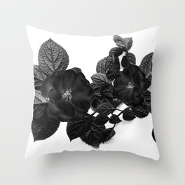 Black Flower Throw Pillow