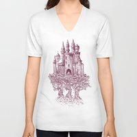 castle V-neck T-shirts featuring Castle in the Trees by Rachel Caldwell