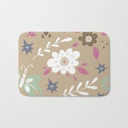 Flowers and butterflies In Brown Pattern Bath Mat